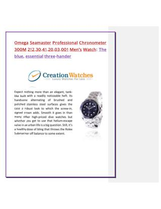 Omega Seamaster Professional Chronometer 300M 212.30.41.20.03.001 Men's Watch: The blue, essential three-hander