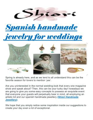 Spanish handmade jewelry for weddings