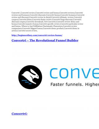 Convertri Review - 80% Discount and $26,800 Bonus