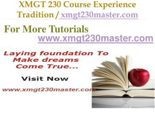 XMGT 230 Course Experience Tradition / xmgt230master.com