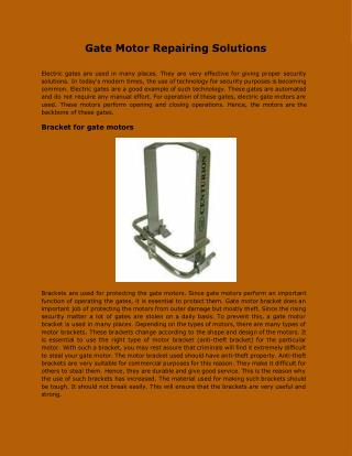Gate Motor Repairing Solutions