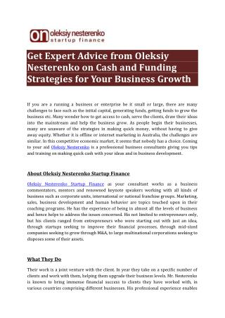 Get Expert Advice from Oleksiy Nesterenko on Cash and Funding Strategies for Your Business Growth