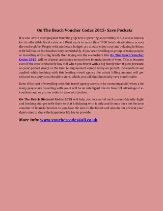 On The Beach Voucher Codes 2015- Save Pockets