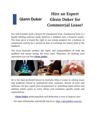 Hire an Expert Glenn Duker for Commercial Lease