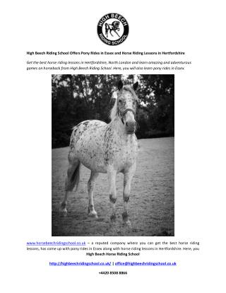 High Beech Riding School Offers Pony Rides in Essex and Horse Riding Lessons in Hertfordshire
