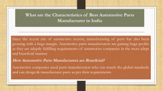 What are the characteristics of best Automotive Parts Manufacturer in India