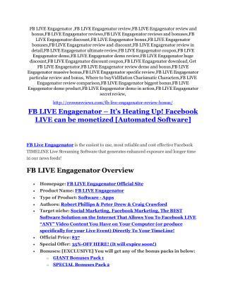 FB LIVE Engagenator review-$26,800 bonus & discount
