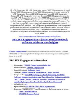 FB LIVE Engagenator review demo & BIG bonuses pack