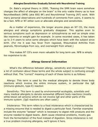 Allergies/Sensitivities Gradually Solved with Neuroliminal Training