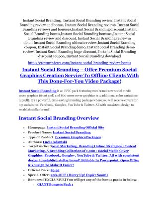 Instant Social Branding review and $26,900 bonus - AWESOME!