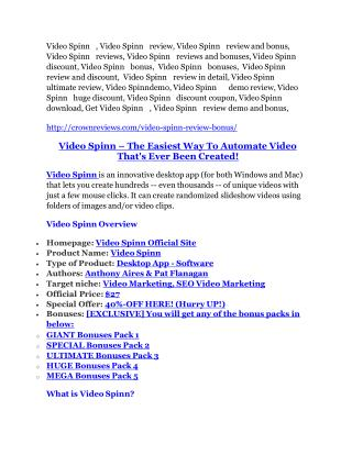 Video Spinn REVIEW and GIANT $21600 bonuses