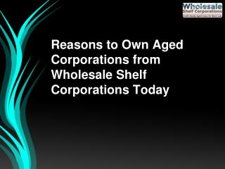 Reasons to Own Aged Corporations from Wholesale Shelf Corporations Today