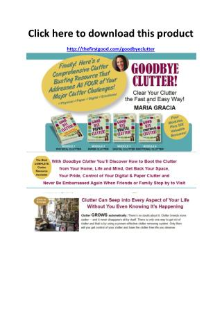 Goodbye Clutter Review - Scam or Legit - PDF eBook Download