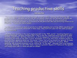 Teaching productive skills