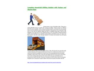 Complete Household Shifting Solution with Packers and Movers Pune