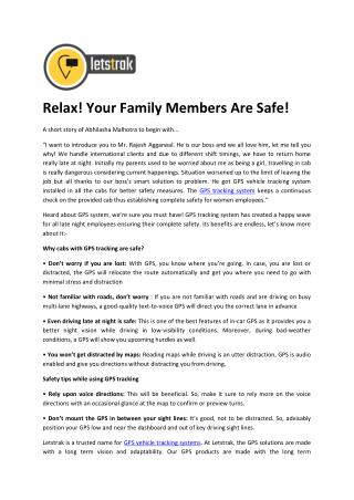 Relax! Your Family Members Are Safe!