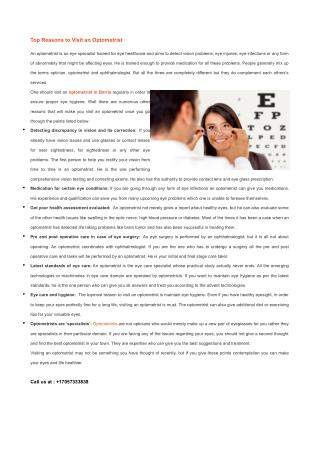 Top Reasons to Visit an Optometrist