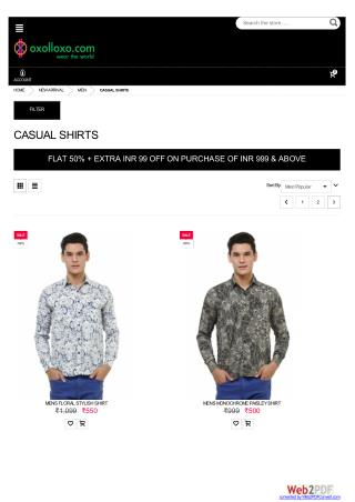 Men Casual Shirts - Flat 50% Off   Extra INR 99  OFF