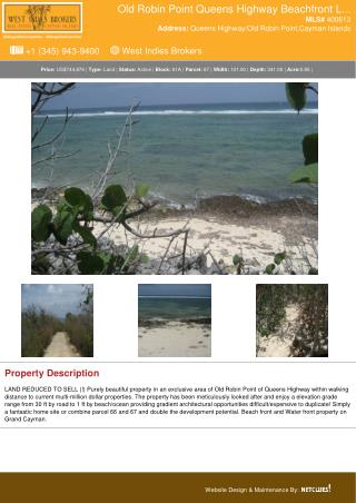 Old Robin Point Queens Highway Beachfront - Land For Sale In Cayman Islands