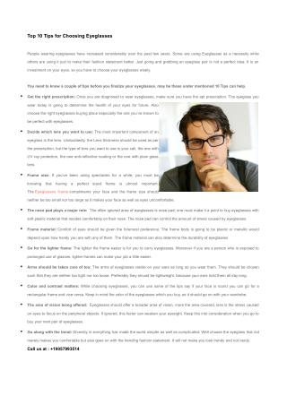 Top 10 Tips for Choosing Eyeglasses