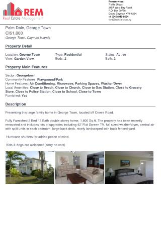 Large family home in Cayman Islands, located off Crewe Road For Rent.
