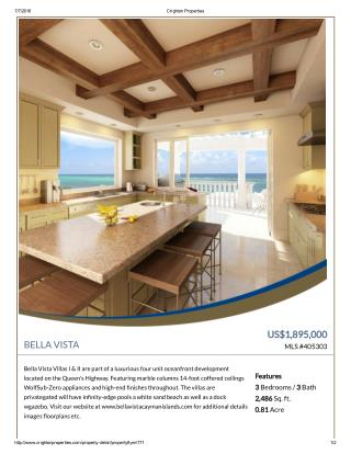 Bella Vista Villas Residential Property For Sale In Cayman Islands