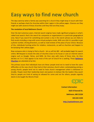 Easy ways to find new church