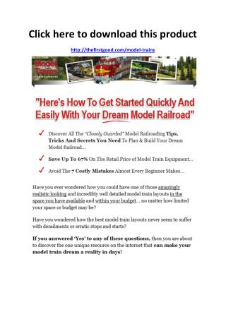 Model Trains For Beginners Review - Scam or Legit - PDF eBook Download