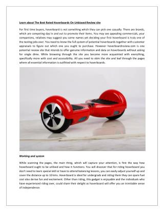 Learn about The Best Rated Hoverboards On Unbiased Review site