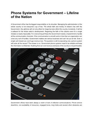 Phone Systems for Government – Lifeline of the Nation