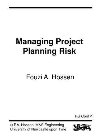 Managing Project Planning Risk