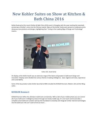 New Kohler Suites on Show at Kitchen & Bath China 2016