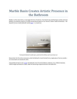 Marble Basin Creates Artistic Presence in the Bathroom