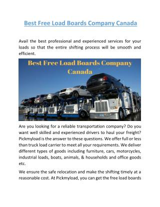 Best Free Load Boards Company Canada | Pickmyload.com