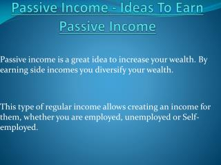 Best Ways To Get Passive Income