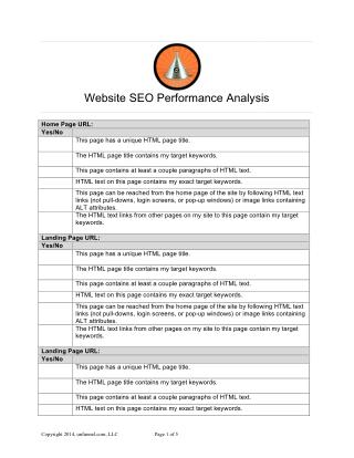 Website SEO Performance Analysis (free template)