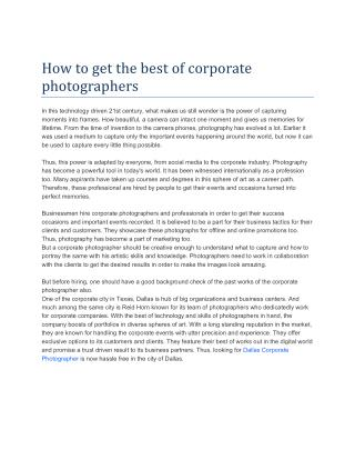 How to get the best of corporate photographers