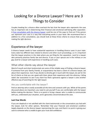 3 things to consider for a divorce lawyer