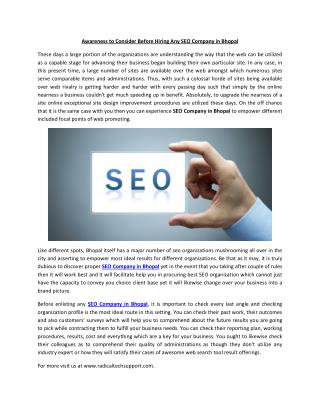 Awareness to Consider Before Hiring Any SEO Company in Bhopal