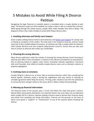5 Mistakes to Avoid While Filing A Divorce Petition