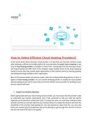 How to Select Efficient Cloud Hosting Providers?