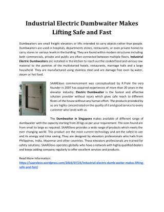Industrial Electric Dumb Waiter Makes Lifting Safe and Fast
