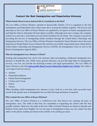 Contact the Best Immigration and Deportation Attorney