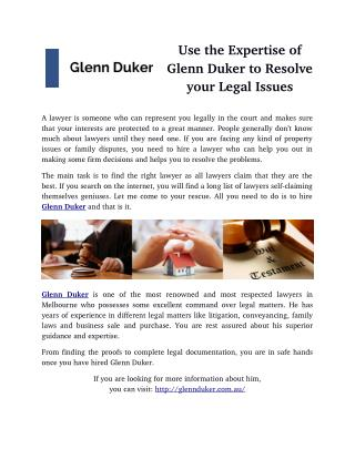 Use the Expertise of Glenn Duker to Resolve your Legal Issues