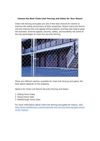 Improve your Resort Security with Chain-Link Fencing and Gates
