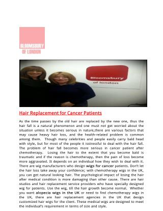 Hair Replacement for Cancer Patients