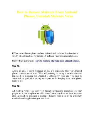 How to Remove Malware From Android Phones, Uninstall Malware Virus