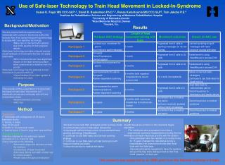 Use of Safe-laser Technology to Train Head Movement in Locked-In-Syndrome