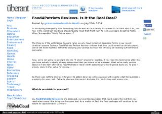Food4Patriots Could Conserve Your Life In The Future