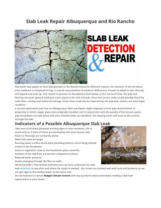 Slab Leak Repair Albuquerque